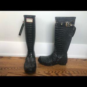 RARE Jimmy Choo for Hunter black croc rain boots